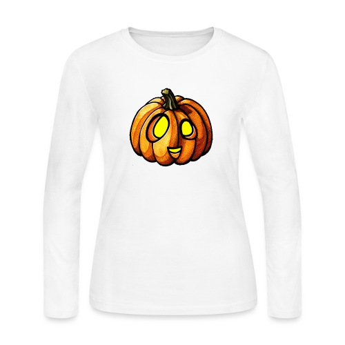 Pumpkin Halloween watercolor scribblesirii - Women's Long Sleeve Jersey T-Shirt