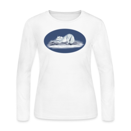 Arctic Fox on snow - Women's Long Sleeve Jersey T-Shirt