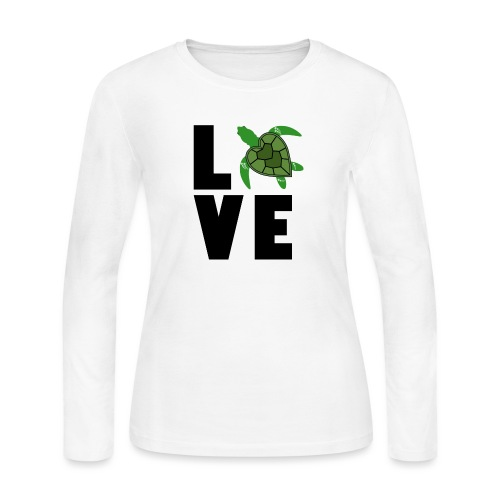 I Love Turtles - Women's Long Sleeve Jersey T-Shirt