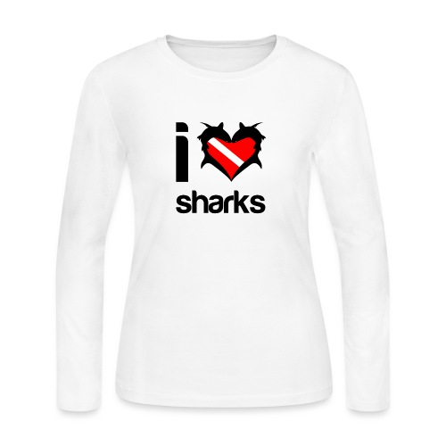 I Love Sharks - Women's Long Sleeve Jersey T-Shirt