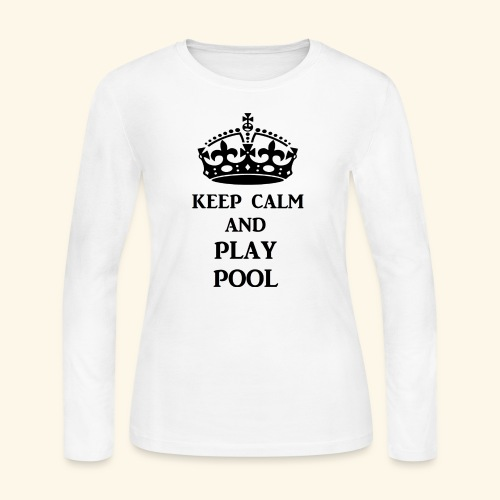 keep calm play pool blk - Women's Long Sleeve Jersey T-Shirt
