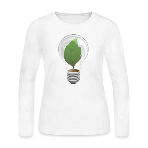 Clean Energy Green Leaf Illustration - Women's Long Sleeve Jersey T-Shirt
