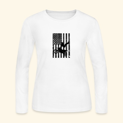 American Flag (Black and white) - Women's Long Sleeve Jersey T-Shirt