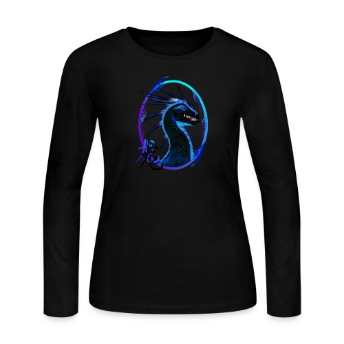 Horned Black Dragon and Symbol - Women's Long Sleeve Jersey T-Shirt