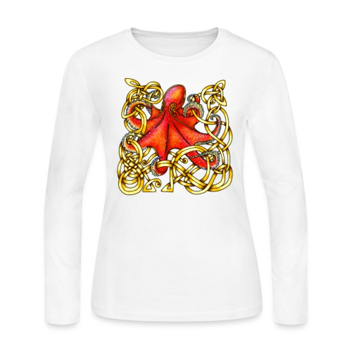 Octopus - Red & Gold - Women's Long Sleeve Jersey T-Shirt