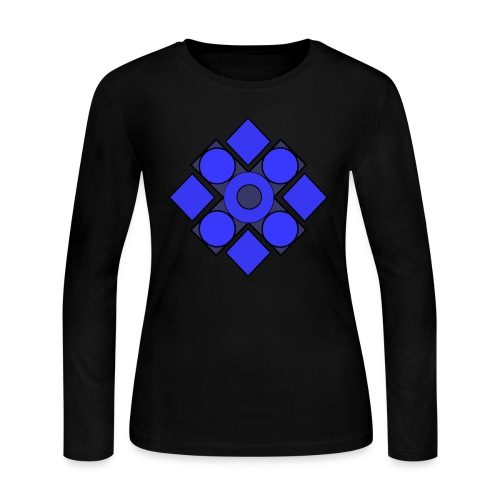 Geometric Cerulean - Women's Long Sleeve Jersey T-Shirt