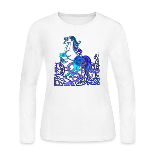 Celtic Horse Silver Blue - Women's Long Sleeve Jersey T-Shirt