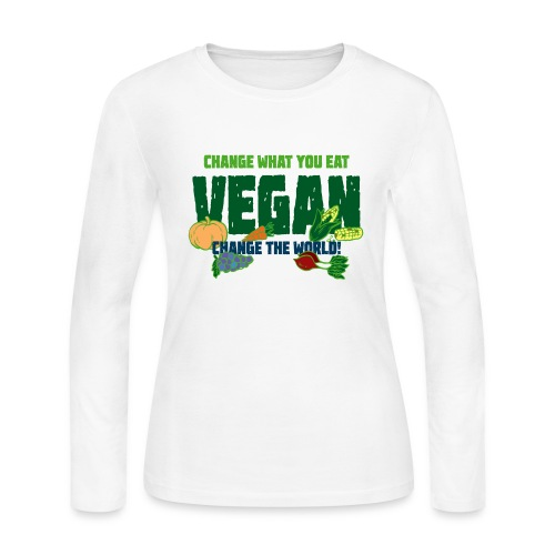 Change what you eat, change the world - Vegan - Women's Long Sleeve Jersey T-Shirt