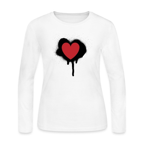 painted heart valentines day design - Women's Long Sleeve Jersey T-Shirt