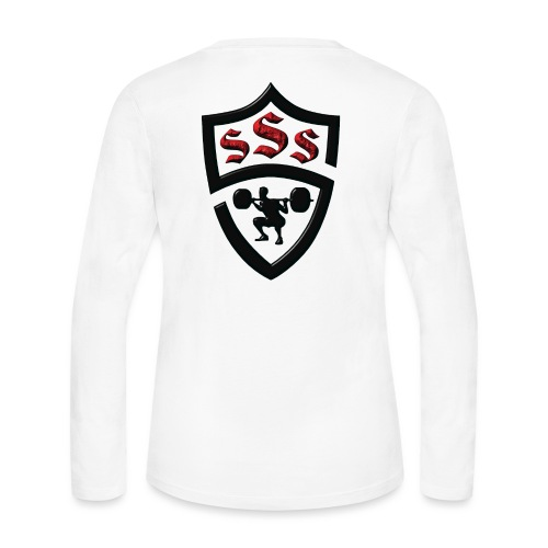 Logo Only Textured Black and Red - Women's Long Sleeve Jersey T-Shirt