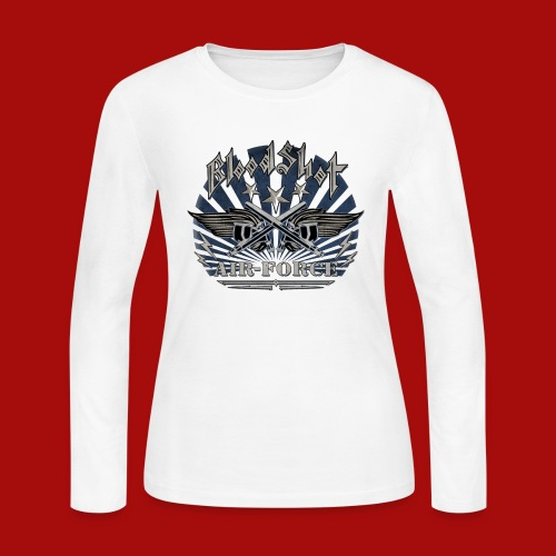 BloodShot Air Force with black - Women's Long Sleeve T-Shirt