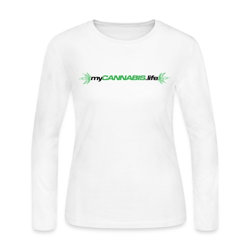 myCANNABIS.life Black Text - Women's Long Sleeve Jersey T-Shirt