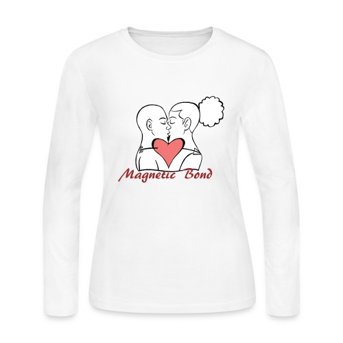 Use this Kissing couple Magnetic Bond white hea - Women's Long Sleeve Jersey T-Shirt