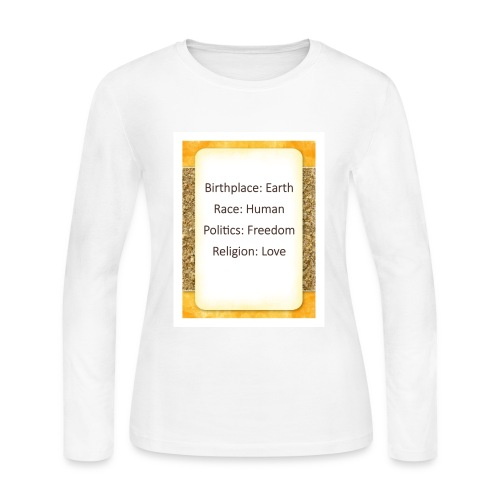 Earth Human Freedom Love - Women's Long Sleeve Jersey T-Shirt