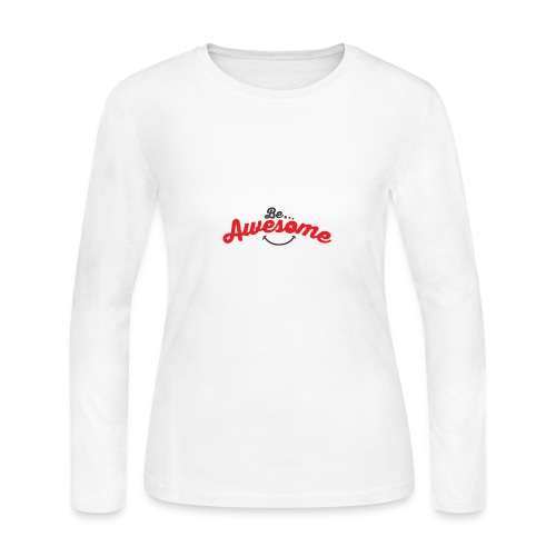 Be Awesome Smiley - Women's Long Sleeve Jersey T-Shirt