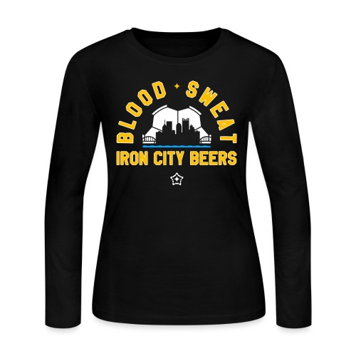 Blood, Sweat and Iron City Beers - Women's Long Sleeve Jersey T-Shirt