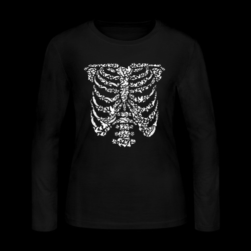 Ribcaged Bird | Halloween Bird Skeleton - Women's Long Sleeve Jersey T-Shirt