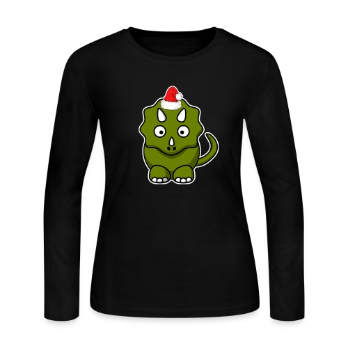 Happy Holidays Triceratops - Women's Long Sleeve T-Shirt