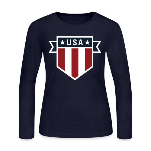 USA Pride Red White and Blue Patriotic Shield - Women's Long Sleeve Jersey T-Shirt