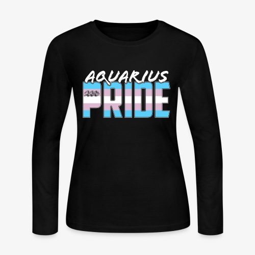 Aquarius Transgender Pride Flag Zodiac Sign - Women's Long Sleeve Jersey T-Shirt