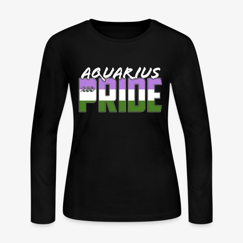 Aquarius Genderqueer Pride Flag Zodiac Sign - Women's Long Sleeve Jersey T-Shirt
