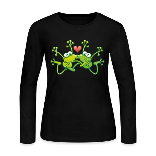Frogs in love performing an acrobatic jumping kiss - Women's Long Sleeve Jersey T-Shirt
