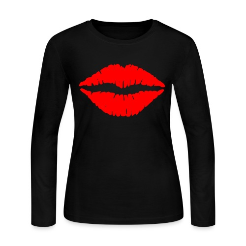 Red Lips Kisses - Women's Long Sleeve Jersey T-Shirt