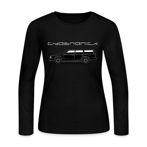Cyberbrick Future Electric Wagon Black Outlines - Women's Long Sleeve Jersey T-Shirt