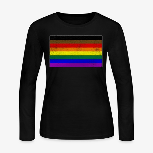 Distressed Philly LGBTQ Gay Pride Flag - Women's Long Sleeve Jersey T-Shirt