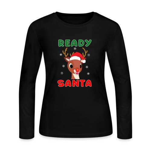 Rudolph Red Nose Reindeer Christmas Snowflakes. - Women's Long Sleeve Jersey T-Shirt