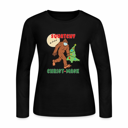 Bigfoot Squatchy Christmas Mask Social Distance. - Women's Long Sleeve Jersey T-Shirt