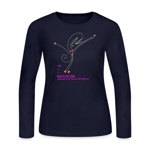 Rt2PlayHRTGrlZ_BLK©clili - Women's Long Sleeve Jersey T-Shirt