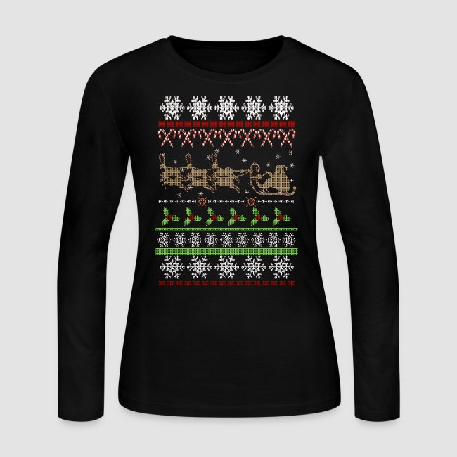 Vintage Christmas Sweaters.Ugly Christmas Sweater Inspired Women S Long Sleeve Jersey T Shirt