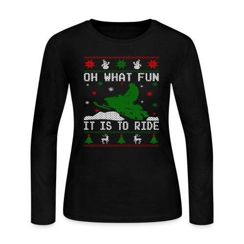 Oh What Fun Snowmobile Ugly Sweater style - Women's Long Sleeve Jersey T-Shirt