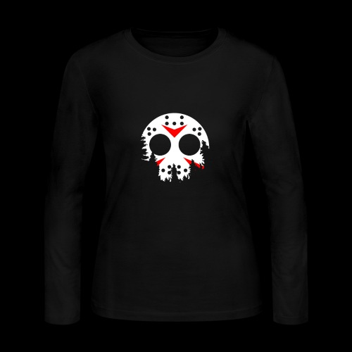 Haunted Halloween Hockey Mask - Women's Long Sleeve Jersey T-Shirt
