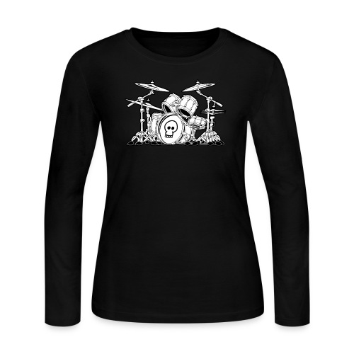 Drum Set Cartoon - Women's Long Sleeve Jersey T-Shirt
