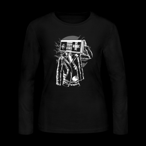 Retro Gamer Head - Women's Long Sleeve Jersey T-Shirt
