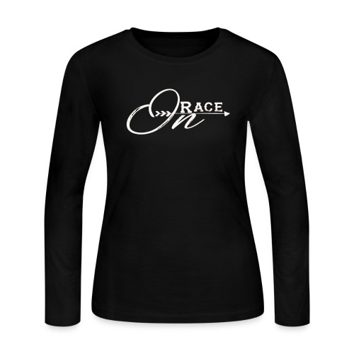 Race On WHITE - Women's Long Sleeve Jersey T-Shirt