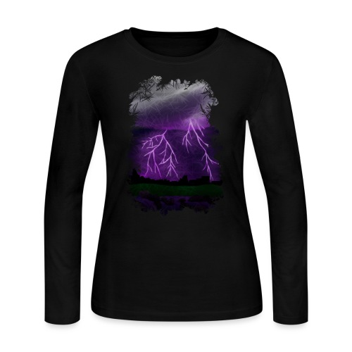 Purple Lightning Scene - Women's Long Sleeve Jersey T-Shirt