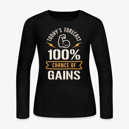 Today's Forecast 100% Chance Of Gains - Women's Long Sleeve Jersey T-Shirt