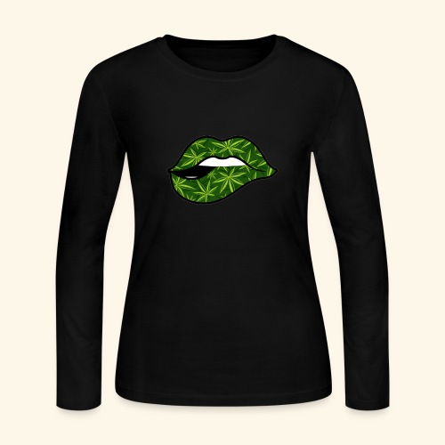 CANNABIS LIPS - WEED LIPS - Women's Long Sleeve Jersey T-Shirt