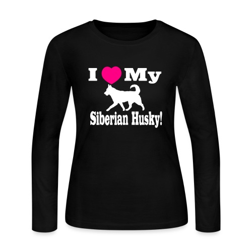 I Love my Siberian Husky - Women's Long Sleeve Jersey T-Shirt