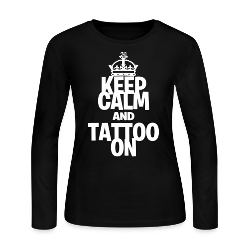 Keep Calm and Tattoo On vector - Women's Long Sleeve Jersey T-Shirt