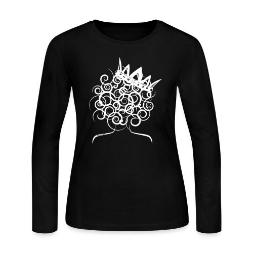 Curly Queen with Crown_ GlobalCouture Women's T-Sh - Women's Long Sleeve Jersey T-Shirt