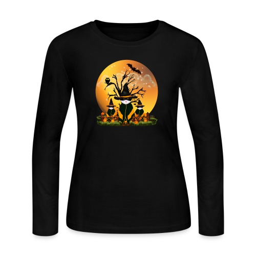 Happy Halloween with 3 masked cats - Women's Long Sleeve T-Shirt