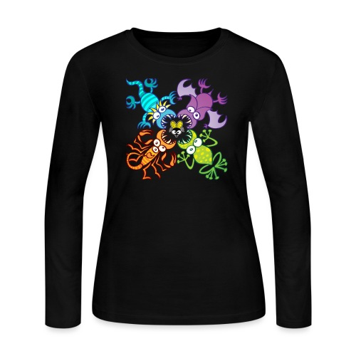 Bat, lizard, scorpion and frog stalking a poor fly - Women's Long Sleeve Jersey T-Shirt