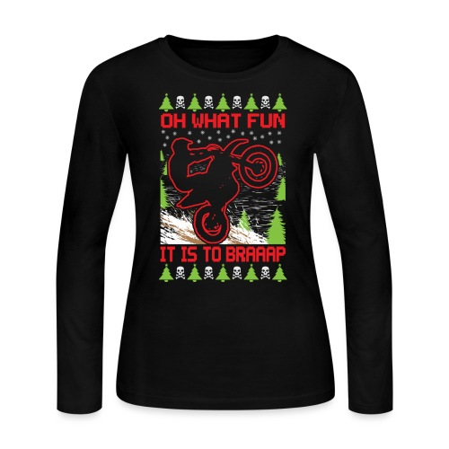 Ugly Christmas Motocross - Women's Long Sleeve Jersey T-Shirt