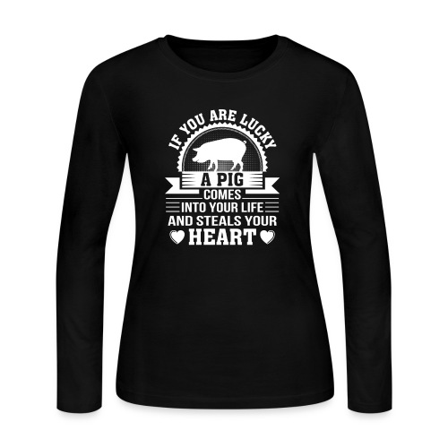Mini Pig Comes Your Life Steals Heart - Women's Long Sleeve Jersey T-Shirt