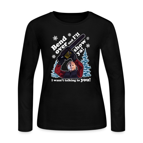 Bend Over and I'll Show You - Funny Christmas - Women's Long Sleeve Jersey T-Shirt