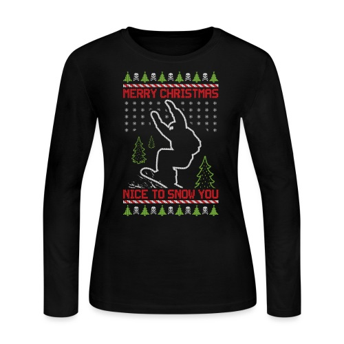 Ugly Christmas Snowboard - Women's Long Sleeve Jersey T-Shirt